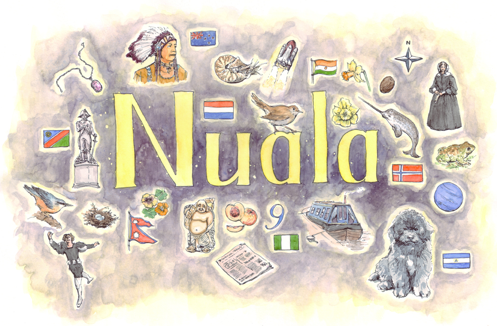 N is for Nuala - Pitt artist pen and watercolour