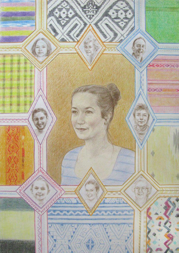 Family portrait - coloured pencil