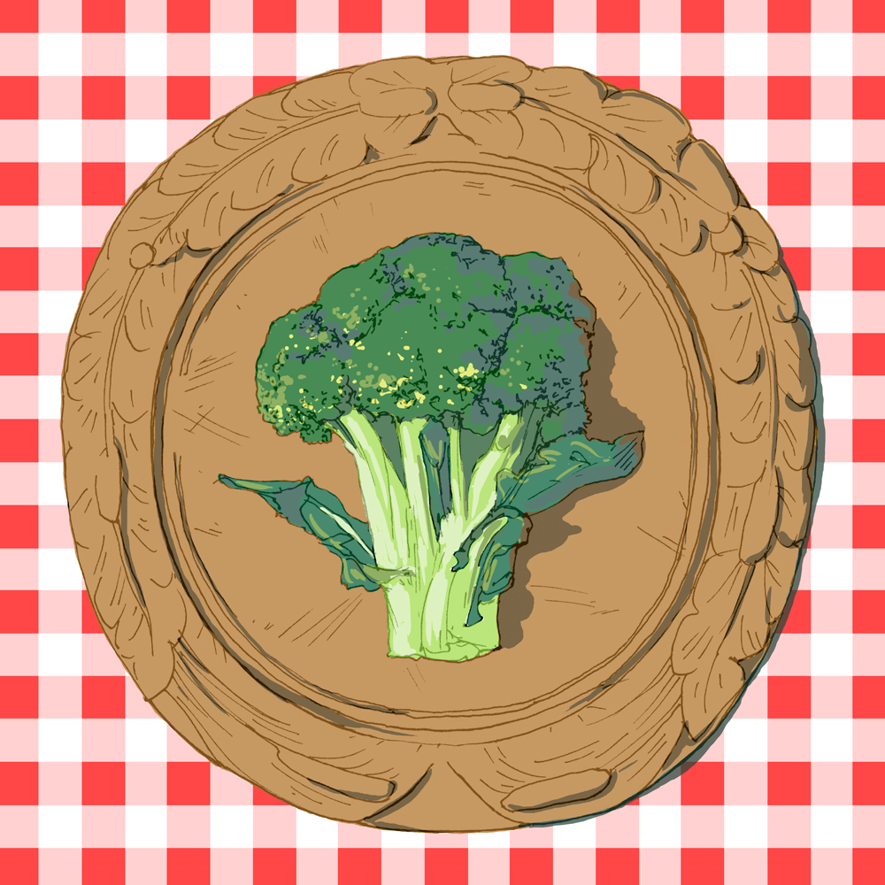 broccoli, drawing, illustration