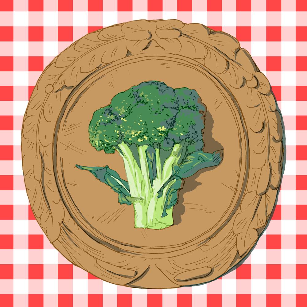 broccoli, drawing, illustration